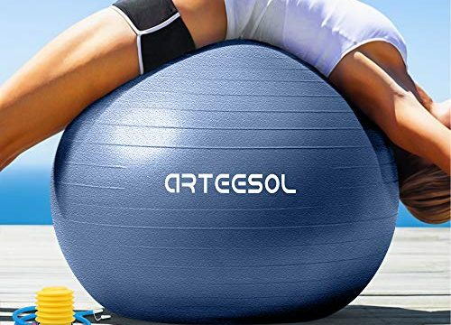 arteesol Gymnastikball Pilates Ball 45cm / 55cm / 65cm / 75 cm inkl. Pumpe Anti-Burst Sitzball für Yoga Exercise Fitness Physiotherapie 5 Farben Dunkelblau, 65cm