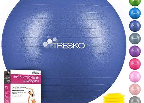 TRESKO Anti-Burst Gymnastikball 55cm 65cm 75cm 85cm | Sitzball | Yogaball | 300 kg | mit Luftpumpe Indigoblau, 65cm für Körpergröße 155-175cm