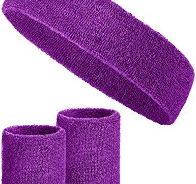 Balinco 3-teiliges Schweißband-Set mit 2X Schweißbändern für die Handgelenke + 1x Stirnband für Damen & Herren Lila