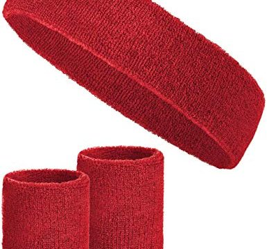 Balinco 3-teiliges Schweißband-Set mit 2X Schweißbändern für die Handgelenke + 1x Stirnband für Damen & Herren Rot
