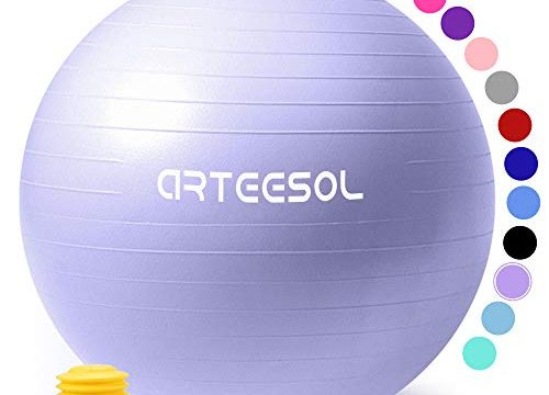 arteesol Gymnastikball 45cm/55cm/65cm/75cm Schwangerschaft Yoga Ball Auti Burst Core Blance Ball mit Schnellpumpe für Pilates Training Fitness Geburt Lila-Srub, 45cm