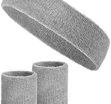 Balinco 3-teiliges Schweißband-Set mit 2X Schweißbändern für die Handgelenke + 1x Stirnband für Damen & Herren Grau