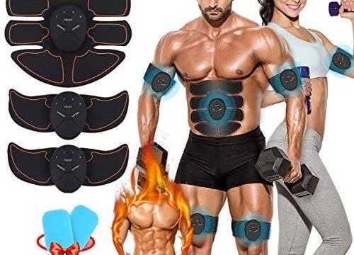 EMS Trainingsgerät Bauchmuskeltrainer Muskelstimulator ABS Stimulator Professionelle EMS Elektrostimulation Muskel Trainer für Arm Bauch Beine zur Muskelaufbau und Fettverbrennung mit Rot-1