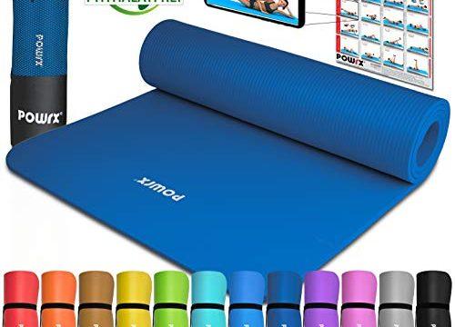 POWRX Gymnastikmatte Yogamatte Premium inkl. Tragegurt & Tasche sowie Übungsposter I Sportmatte Phthalatfrei, SGS geprüft, 183 x 60 x 1 cm I Matte hautfreundlich I versch. Farben Dunkelblau