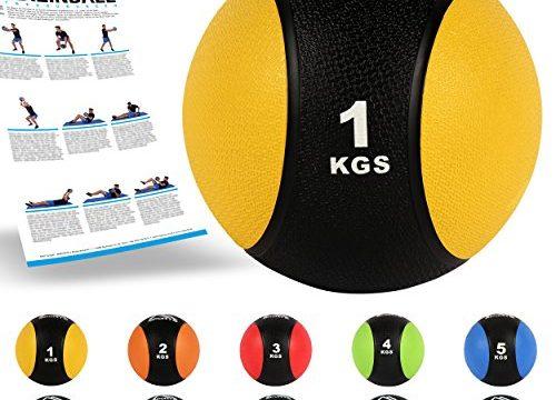 Professionelle Studio-Qualität inkl. Übungsposter Gymnastikbälle – MSPORTS Medizinball 1 kg