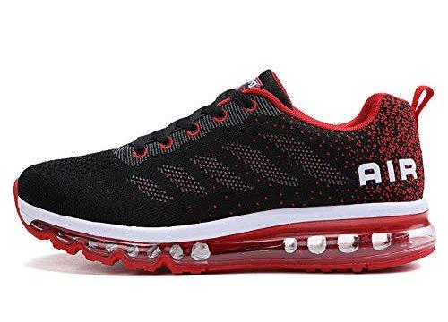 TORISKY Unisex Sportschuhe Herren Damen Laufschuhe mit Luftpolster Turnschuhe Sneakers Air Schuhe Trainer Leichte Profilsohle(833-BK/Red39)