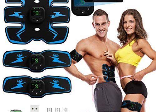 PiAEK Muskelstimulation Elektrostimulation EMS ABS Stimulator Bauchtrainer Trainingsgerät, Elektrische Muskelstimulator Bauchmuskeltrainer 3 in 1 USB Aufladung für Damen Herren