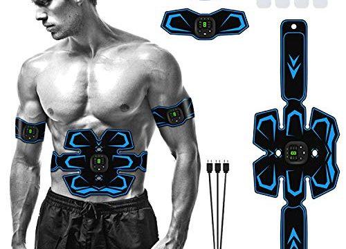 Huttoly EMS Muskelstimulation Elektrostimulation, Professional USB Wiederaufladbar ABS EMS Trainingsgerät, Tragbarer Muskel Trainer für Herren Damen EMS-Training Bauch/Arm/Bein Fitness Trainings Gang