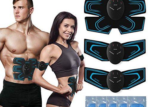 zociko EMS Trainingsgerät Bauchmuskeltrainer Muskelstimulator ABS Stimulator EMS Elektrostimulation Muskel Trainer für Arm Bauch Beine zur Muskelaufbau und Fettverbrennung mit 10PCS Gel-Auflagen
