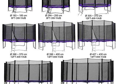Gartentrampolin Kindertrampolin Trampolin 244 bis 250 cm lila komplettes Set mit Sicherheitsnetz und Einstiegsleiter … …