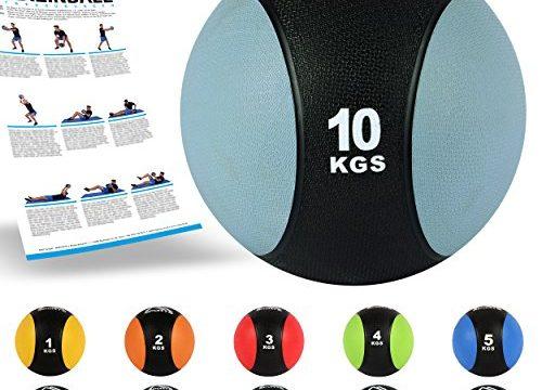 10 kg – MSPORTS Medizinball 1 – Hellgrau – Professionelle Studio-Qualität inkl. Übungsposter Gymnastikbälle 10 kg