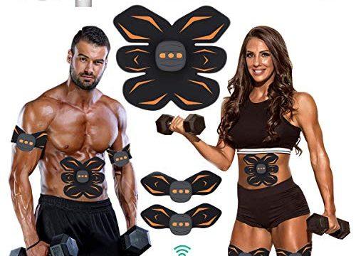 ROOTOK EMS Trainingsgerät, Bauchmuskeltrainer Elektrisch, 6 Modi 10 Intensitäten Mit Fernbedienung,USB Wiederaufladbar