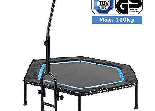 FA Sports Unisex– Erwachsene FlyJump Fit Indoor Fitness Trampolin, schwarz, blau, Ø 126 x 114 cm