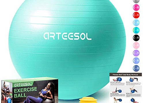 arteesol Gymnastikball, Balance Ball 45cm/55cm/65cm/75cm Yoga Ball mit Pumpe Anti-Burst Fitness Balance Ball für Core Strength Meerblau, 85