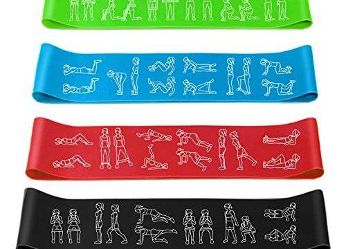 Amonax Widerstandsbänder 4er Set Fitnessband Theraband & Tragebeutel Resistance Bands Gymnastikband aus Naturlatex für Muskelaufbau Physiotherapie Pilates Yoga Grün+Blau+Rot+Schwarz