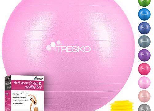 TRESKO Anti-Burst Gymnastikball 55cm 65cm 75cm 85cm | Sitzball | Yogaball | 300 kg | mit Luftpumpe Princess-Pink, 85cm für Körpergröße über 185cm
