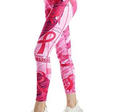 COOLOMG Damen Leggings Yoga Hose Printed Sporthose Fitness Laufhose lang mit Taschen Pink2 M