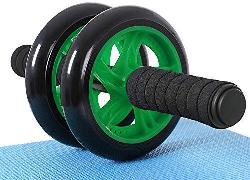 SONGMICS Bauchroller, AB Roller Bauchtrainer, AB Wheel für Fitness, mit Rutschfester, gut gepolsterter Kniematte, Bauchmuskeltraining und Muskelaufbau, für Frauen und Männer Schwarz + Grün