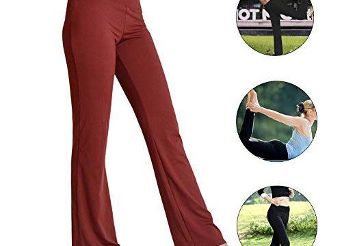 HETAIDA Damen Yogahose, Versteckten Taschen Sporthosen für Damen, Mittlhohe Taille Stilvolle Freizeitliche Joga Fitness Hose für Fitness, Outdoor-Sport und Als Alltagskleidung Brick Red, XL