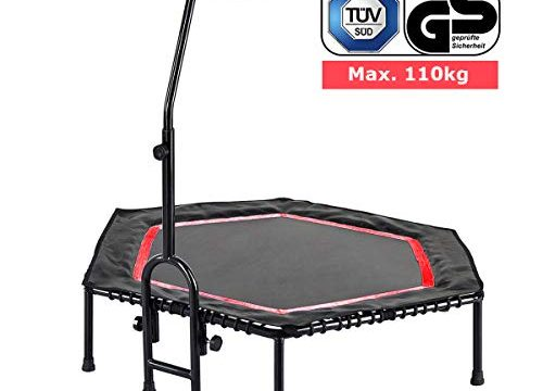 FA Sports Unisex– Erwachsene FlyJump Fit Indoor Fitness Trampolin, schwarz, rot, Ø 126 x 114 cm