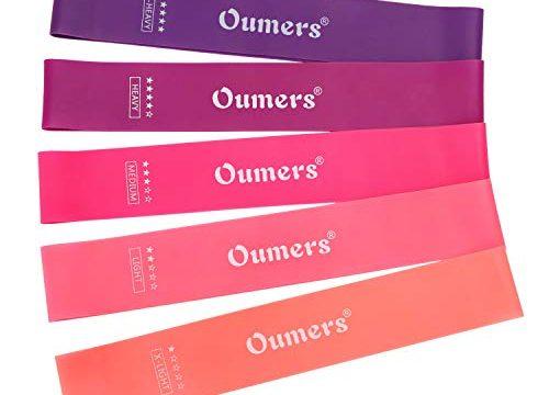 Oumers Widerstandsband Set 5 Stück Resistance Band mit Tasche und Anleitung Perfekt für Workouts Yoga Pilates Fitness