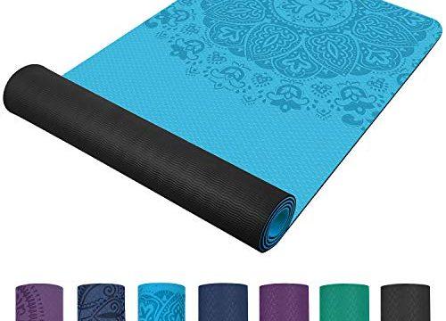 TOPLUS Preumium Yogamatte aus hochwertigen TPE, rutschfest Yogamatte Gynastikmatte Übungsmatte Sportmatte für Yoga, Pilates,Fitness usw.-Blau&Schwarz