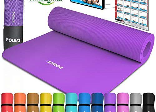 POWRX Gymnastikmatte Yogamatte Premium inkl. Tragegurt & Tasche sowie Übungsposter I Sportmatte Phthalatfrei, SGS geprüft, 183 x 60 x 1 cm I Matte hautfreundlich I versch. Farben Lila