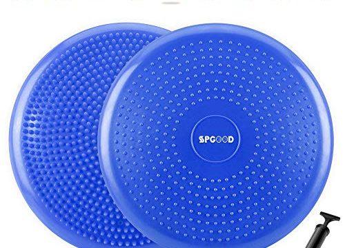 SPGOOD Balance Kissen Ballsitzkissen 34 cm mit Pumpe ballance Kissen Sitzballkissen Luftkissen Yoga Kissen 34CM Durchmesser Noppenkissen Balance Pad Aufblasbare Orthopädisches Blau