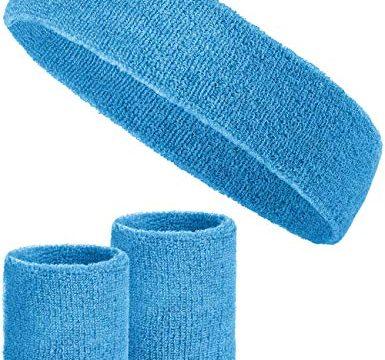 Balinco 3-teiliges Schweißband-Set mit 2X Schweißbändern für die Handgelenke + 1x Stirnband für Damen & Herren Hellblau